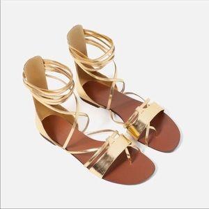 Zara Gold Lace Up Gladiator Sandals